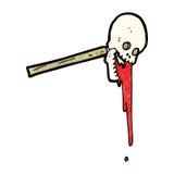 Gross skull on stick cartoon Royalty Free Stock Photography