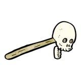Gross skull on stick cartoon Stock Photo