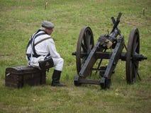 Grossbeeren-2012-Kanone-Soldat Royalty Free Stock Photo