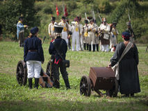 Grossbeeren-2012-Kanone-Wagen-Frau Stock Photos