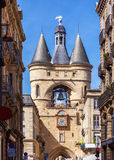 Grosse Closhe Bell Tower Ancient Clock, Bordeaux stock photography