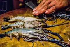 Grosse coupure de crevettes Photos libres de droits