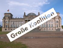 Grosse Koalition over Reichstag parliament in Berlin Royalty Free Stock Photos