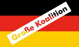 Grosse Koalition over German Flag. Grosse Koalition (meaning Grand Coalition) superimposed to the German Flag Royalty Free Stock Photography