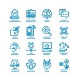 Grosse ligne ensemble d'affaires d'icône Image libre de droits