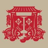 Grosse papier-coupe chinoise de porcs Image libre de droits