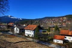 Grosser Arber, χειμερινό τοπίο γύρω από Bayerisch Eisenstein, χιονοδρομικό κέντρο, Βοημίας δάσος (Šumava), Γερμανία Στοκ Εικόνες
