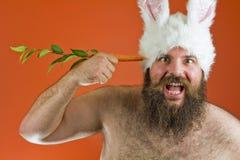 Grosses oreilles de lapin d'homme Photo stock