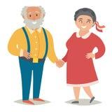 Grosses personnes âgées Personnes âgées de taille plus Gros couples, homme et femmes heureux Illustration plate de vecteur illustration libre de droits