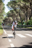 Grosseto, Italy - May 09, 2014: The cyclist without an arm and feet with the bike during the sporting event Royalty Free Stock Image