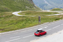 Grossglockner, Austria, 24 July 2015: Car speeding on the road Stock Photos