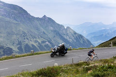 Grossglockner, Austria, 23 July 2015: Cyclist and motorcyclist o Royalty Free Stock Image