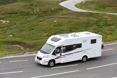 Grossglockner, Austria, 24 July 2015: Motorhome speeding on the road Royalty Free Stock Photography