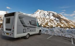 Grossglockner High Alpine Road in Austria. Peugeot auto sleeper Nuevo parked on the observation platform. High Alpine Road in Austrian Alps close to Kaiser Royalty Free Stock Photos