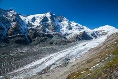 Grossglockner, il più alta montagna in Austria con il ghiacciaio di Pasterze Fotografia Stock