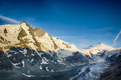 Grossglockner Panorama (Austria). Panorama of Grossglockner (3.798m) and the Pasterze (longest glacier in the eastern Alps). Austria Royalty Free Stock Photography