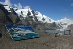 Grossglockner and signboard Stock Photos