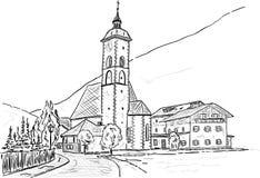 Grosskirchheim kyrka vektor illustrationer