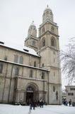 Grossmünster教会在苏黎世 图库摄影