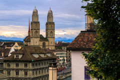 Grossmünster Cathedral. Zurich cityscape with old buildings and the Grossmünster Cathedral , Zurich ,Switzerland Royalty Free Stock Photos