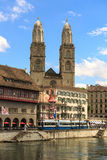 Grossmünster Cathedral. Zurich cityscape with old buildings and the Grossmünster Cathedral , Zurich ,Switzerland Stock Image