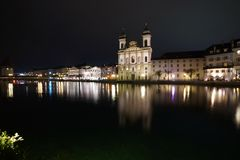 Grossmünster church on Limmat river Zurich stock image