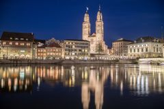 Grossmünster Church in Zurich at night Stock Images