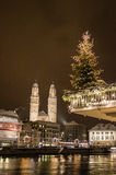 Grossmünster by night at Christmas Royalty Free Stock Image