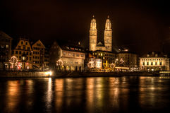 Grossmünster church in Zurich Royalty Free Stock Photo