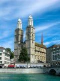 Grossmuenster church in Zurich stock image