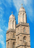 Grossmuenster towers in zurich Royalty Free Stock Photos