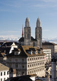 Grossmuenster in Zurich. Grossmuenster church and Zurich city center Royalty Free Stock Photos