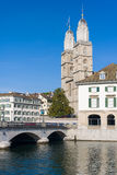 Grossmuenster in Zurich in summer Stock Photos