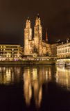Grossmunster,一个最大的教会在瑞士苏黎士 库存图片