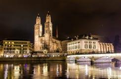Grossmunster,一个最大的教会在苏黎世 免版税库存图片