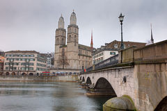 Grossmunster cathedra, Zurich Stock Photography