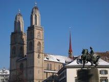Grossmunster Cathedral. At zurich, switzerland Stock Photos