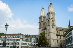 Grossmunster church zurich in switzerland Royalty Free Stock Image