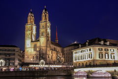 Grossmunster The Great Cathedral at night, Zurich, Switzerland Royalty Free Stock Image