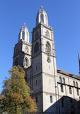 Grossmunster (The Great Cathedral) in Zurich Stock Images
