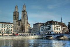 Grossmunster in HDR, Zürich, Zwitserland Royalty-vrije Stock Fotografie