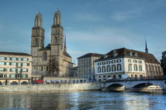 Grossmunster in HDR, Zurigo, Svizzera Fotografia Stock Libera da Diritti