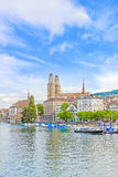 Grossmunster and Limmat, Zuerich Royalty Free Stock Photography