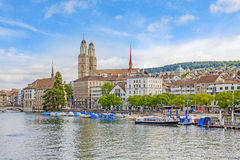 Grossmunster and Limmat, Zuerich Stock Image
