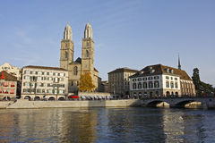 The Grossmunster and rathaus in Zurich Stock Images