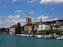 Grossmunster Skyline in Zurich, Switzerland Royalty Free Stock Photography