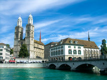 Grossmunster in Zurich stock image