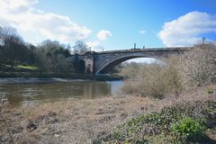 Grosvenor bridge. Across the river Dee Chester Royalty Free Stock Photo