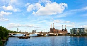 Grosvenor Bridge with Battersea Power Station. Panoramic view of Grosvenor Bridge with abandonded Battersea power station in London Stock Photo