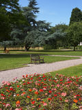 Grosvenor Park in Chester UK. Grosvenor Park and geraniums with empty seats in summer in Chester Cheshire UK Stock Image